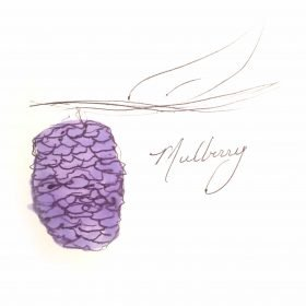 one purple mulberry hanging from a tree branch