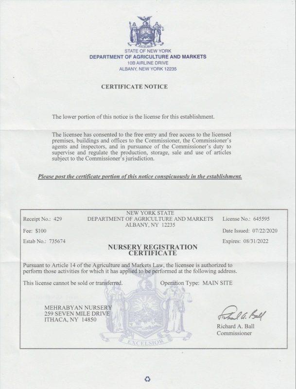 fruit tree nursery certificate